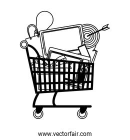 Shopping cart symbol on black and white colors