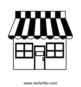 Store shop symbol on black and white colors