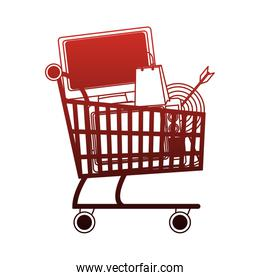 Shopping cart symbol on red lines