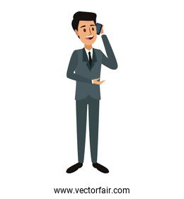 Businessman talking with smartphone