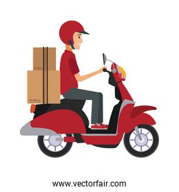 Courier driving scooter
