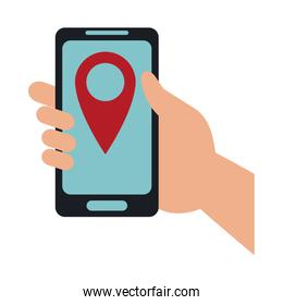GPS tracking from smartphone isolated icon