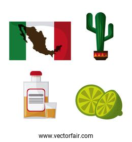 Mexico culture icons in flat design style, vector illustration