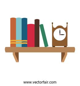 Books and clock on shelf