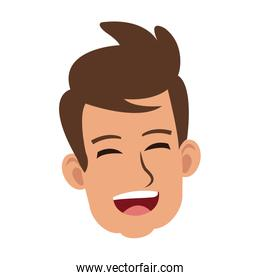 Young man face laughing