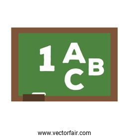 School blackboard with numbers and a,b,c