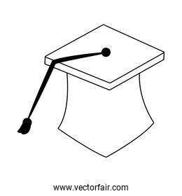 Graduation cap isolated on black and white colors