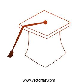 Graduation cap isolated in orange and white colors
