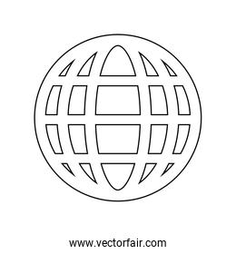 Global sphere symbol in black and white colors