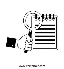 Magnifying glass on clipboard in black and white colors