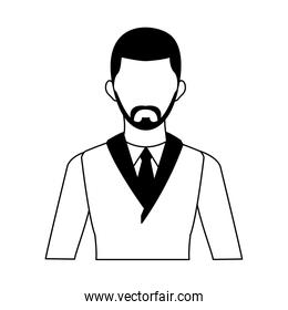 Businessman avatar profile in black and white colors