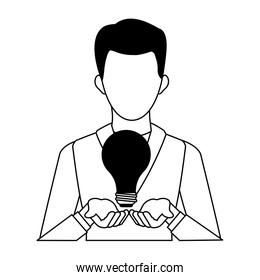 Businessman with idea in black and white colors
