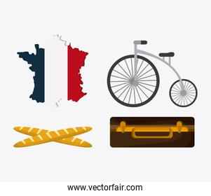 France design. map, bread, bike and suitcase. vector graphic