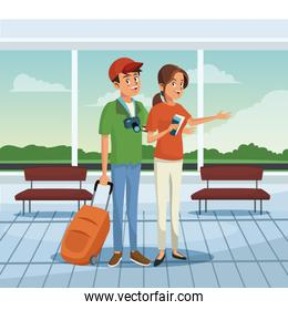 Young couple at airport