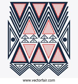 Tribal design. blue and red abstract figure. vector graphic