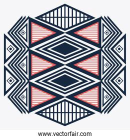 Tribal design. blue and red abstract figure