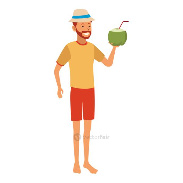 Young man with coconut cocktail