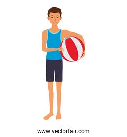 Young man with beach ball
