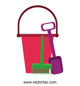 Sand bucket with toy tools