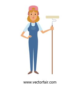 Woman construction painter with overrall