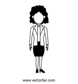 Executive business woman faceless cartoon in black and white colors