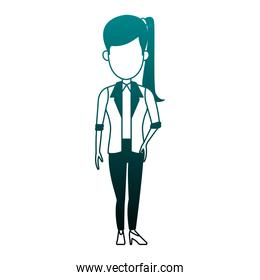 Executive business woman faceless cartoon in blue lines