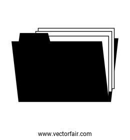 Folder with documents in black and white