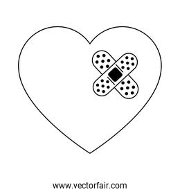 Heart with bandage in black and white