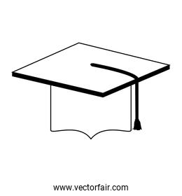 Graduation cap isolated in black and white
