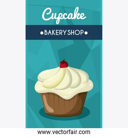 Decorated Cupcake. Sweet icon. vector graphic