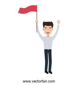 Successful businessman with flag