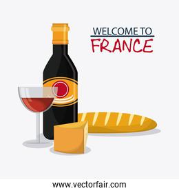 France design. traditional food. vector graphic