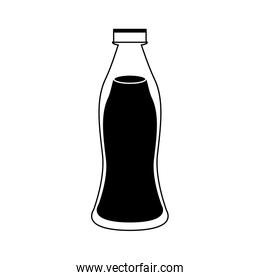 Milk bottle isolated in black and white colors