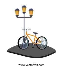 Bike with lamp in street