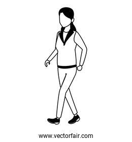 Woman walking cartoon in black and white