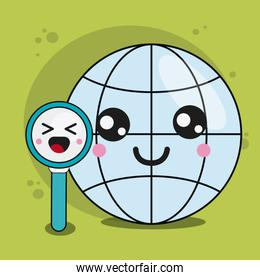 global and lupe icon. Kawaii and technology. Vector graphic
