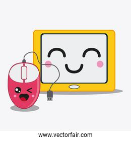 tablet icon. Kawaii and technology. Vector graphic