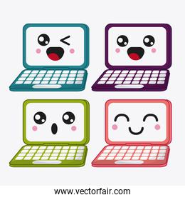 laptop icon. Kawaii and technology. Vector graphic