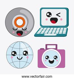 cartoon icon set. Kawaii and technology. Vector graphic