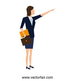 Businesswoman with briefcase and folder