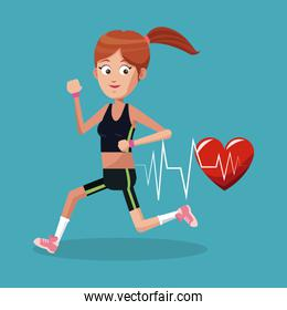 Yougn woman healthy lifestyle cartoons