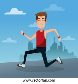 Young man healthy lifestyle cartoon