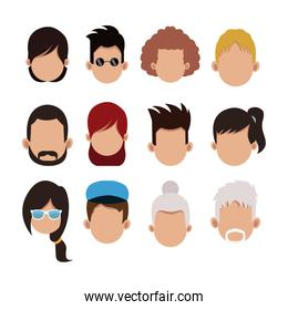 People faceless cartoons