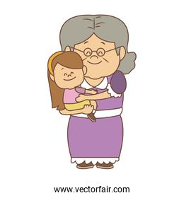 Cute grandmother with granddaugther