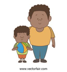 Afro dad with boy