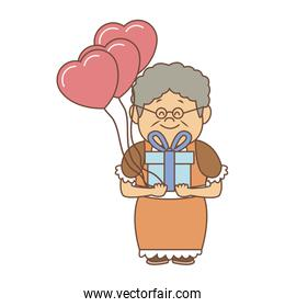 Cute grandmother with gift