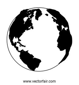 Earth planet isolated in black and white
