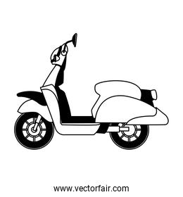 Scooter motorcycle isolated in black and white