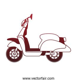 Scooter motorcycle isolated red lines