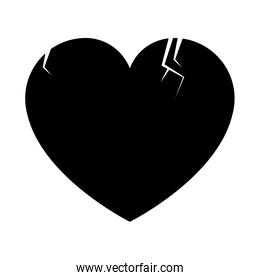 Heart broken isolated in black and white